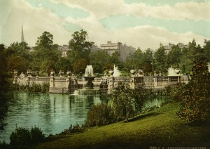 United Kingdom Kensington Gardens Lake Fountains Old Photo Photochrom 1900