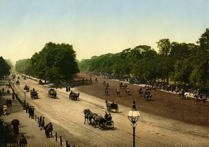 United Kingdom London Rotten Row Horses Traffic Old Photo Photochrom 1900