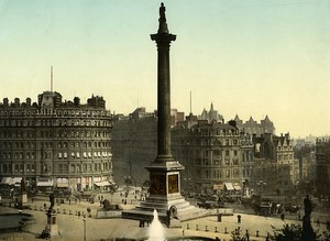 United Kingdom London Trafalgar Square Old Photo Photochrom 1900