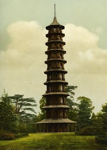 United Kingdom London Kew Gardens Chinese Pagoda Old Photo Photochrom 1900