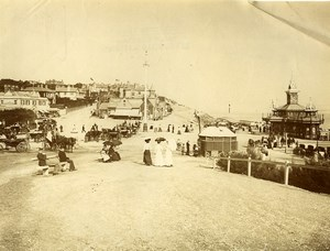 Royaume Uni Bournemouth Plage Vacanciers ancienne Photo 1890