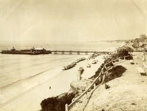 Royaume Uni Bournemouth Estacade Cabines de Plage ancienne Photo 1890