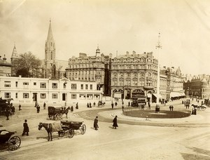 United Kingdom Bournemouth Square Horse Carriages Old Photo 1890