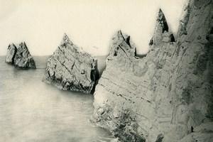 Royaume Uni Ile de Wight Needles Craie ancienne Photo gravure 1900