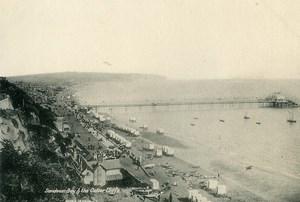 Royaume Uni Ile de Wight Sandown Bay & Falaises Culver Cliffs Pier ancienne Photo gravure 1900