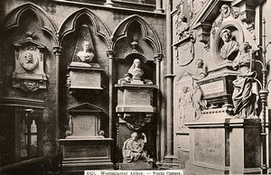 United Kingdom London Londres Westminster Abbey Poets Corner Old Photo 1900