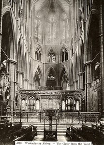 United Kingdom London Westminster Abbey the Choir from the West Old Photo 1900