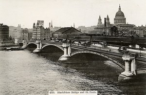 London Londres Blackfriars Bridge & St Paul's Cathedral Old Photo 1900