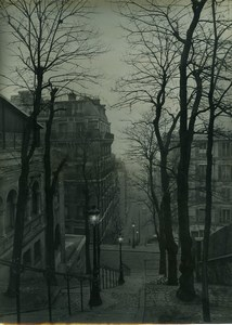 France Paris Montmartre by Night Street Lights Old Photo 1940