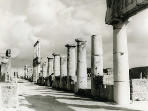 Italy Pompei Pompeii Columns Old Photo 1961