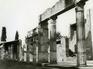 Italy Herculaneum Columns Old Photo 1961