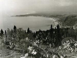 Italy Taormina Panorama Cactus Old Photo 1961