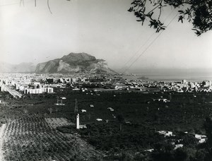 Italy Bay of Palermo Panorama Monte Pellegrino Old Photo 1961