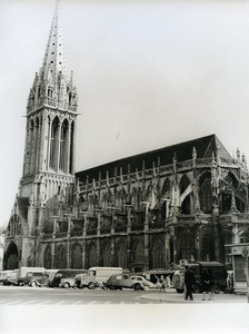 France Caen Cathedrale Saint Pierre Cathedral Cars Vans Old Photo 1960