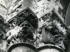 France Poitiers eglise Notre Dame la Grande Church Detail Old Photo 1960
