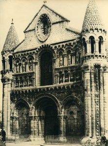France Poitiers eglise Notre Dame la Grande Church Façade Old Photo 1960