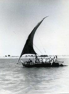 Egypt Valley of Nile Felucca Promenade Sailboat Old Photo 1960