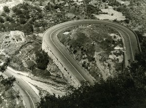 France Windy Mountain Road Old Photo 1960