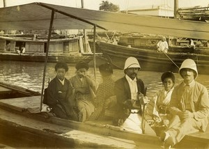Chine Pékin Beijing pique-nique sur le Canal Impérial ancienne Photo 1906 #1