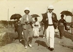 Chine Pékin Beijing pique-nique sur le Canal Impérial ancienne Photo 1906 #2