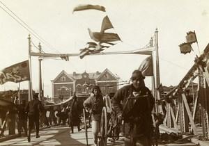 Chine Pékin Beijing pont métallique Animation ancienne Photo 1906