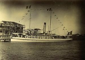 Chine Tianjin Tien-Tsin Port de Takou Tanggu le Pei Ho Chaloupe canonnière ancienne Photo 1906