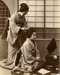 China Tianjin Miss Clarity O Seru San & Shigu San Woman Fashion Old Photo 1906
