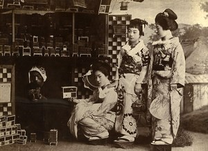 China Tianjin At a cicadas merchant Street Retailer Old Photo 1906
