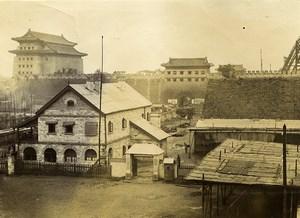 Chine Pékin Beijing au pied de la Cité Interdite Porte Tsien-Men ancienne Photo 1906