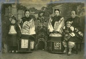 Chine Tianjin Tien-Tsin Famille du Mandarin de la Police de Tientsin ancienne Photo 1906
