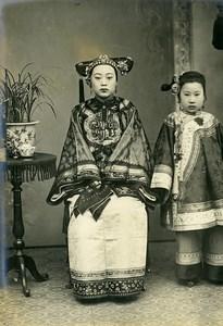 Chine Tianjin Tien-Tsin Femme du Taotaï Cho et sa fille ancienne Photo 1906