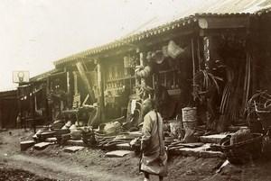 Chine Shanhaiguan une rue animée Commerce Vannerie Paniers en Osier ancienne Photo 1906