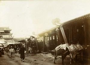 Chine Shanhaiguan une rue animée Commerces Chevaux ancienne Photo 1906