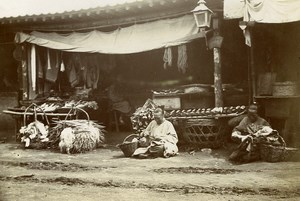 Chine Shanhaiguan une rue animée Commerce Ravaudeuses ancienne Photo 1906