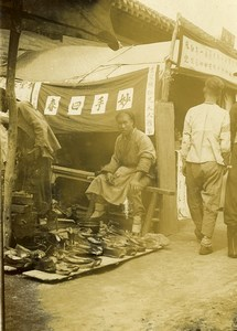 Chine Shanhaiguan scene de rue animée le cordonnier ancienne Photo 1906