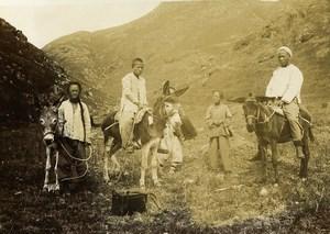 Chine Shanhaiguan Sur la route du Temple Qixia Groupes et Anes ancienne Photo 1906