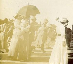 Chine Shanhaiguan Officiers anglais au départ du Général Lefevre ancienne Photo 1906