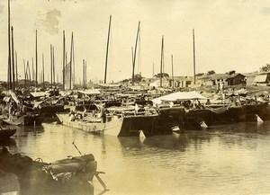 Chine Tianjin Tientsin riviere Pei Ho Hai He au niveau du pont autrichien ancienne Photo 1906