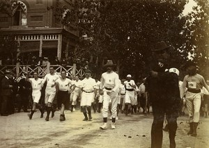 China Tianjin Tientsin Gentlemen Race start Walking Running Old Photo 1906