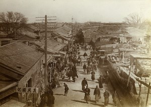 Chine Pékin Beijing une rue commercante animee pietons ancienne Photo 1906