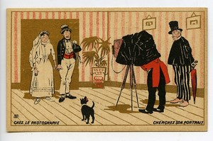 France Chocolat Tunisien Advertising Chromo At the Photographer 1890