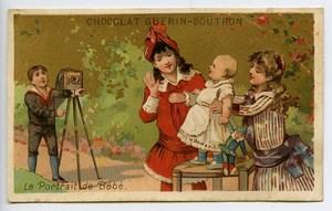 France Paris Chocolat Guerin Boutron Chromo Publicitaire Bebe & Photographe 1890