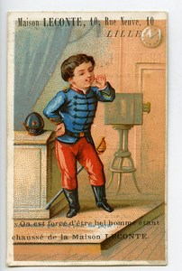 France Lille Maison Leconte Chausseur Chromo Publicitaire Photographe 1890
