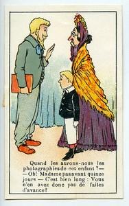France Chromo Publicitaire Photographe Cliente Impatiente 1890