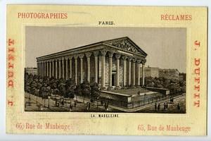 France Paris La Madeleine Chromo Publicitaire Photographe J Duffit 1890