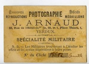 France Verdun Chromo Publicitaire Chasseur Photographe J Arnaud 1890