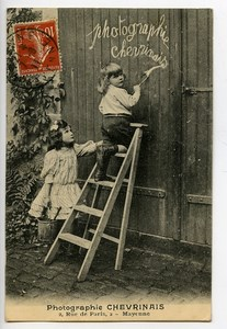 France Mayenne Carte Postale Enfants Photographe Chevrinais 1911