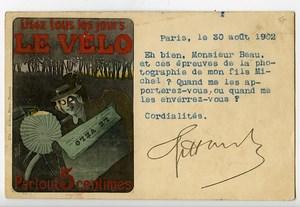 France Paris Carte Postale Le Velo Postale Photographe Jules Beau 1902