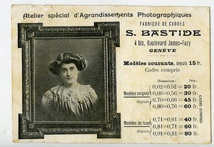 Switzerland Geneva Advertising Postcard Photographer S Bastide 1909