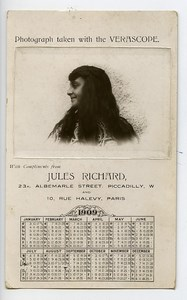 France Paris Carte Photo Verascope Photographe Jules Richard 1909 Calendrier